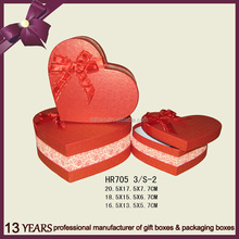 New Design Heart Shape Gift Paper Packing Box with Ribbon Bow