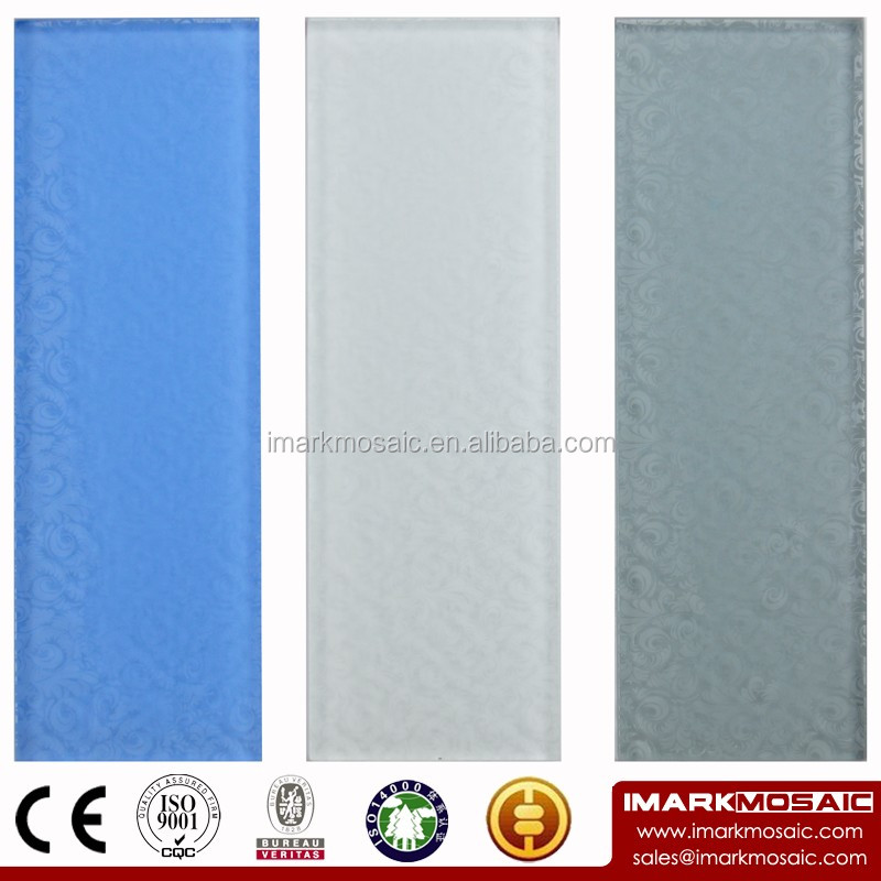 IMARK Rectangle Tile By Crystal Glass Tile With Recycle Glass Printing Flower Pattern For Wall Decoration