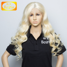 Human hair long blonde 100% Unprocessed Peruvian Lace Front Wigs For White Women
