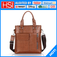 leather material and men gender business bag