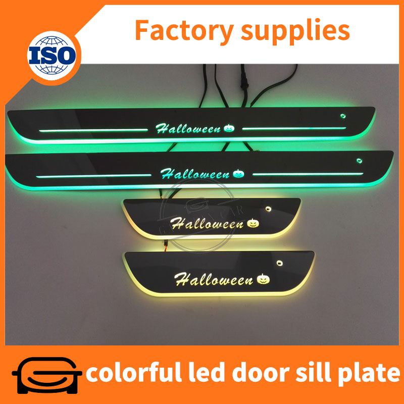 With sensor mirror surface RGB led moving door sill plate guard for Peugeot 4008 2012-2016