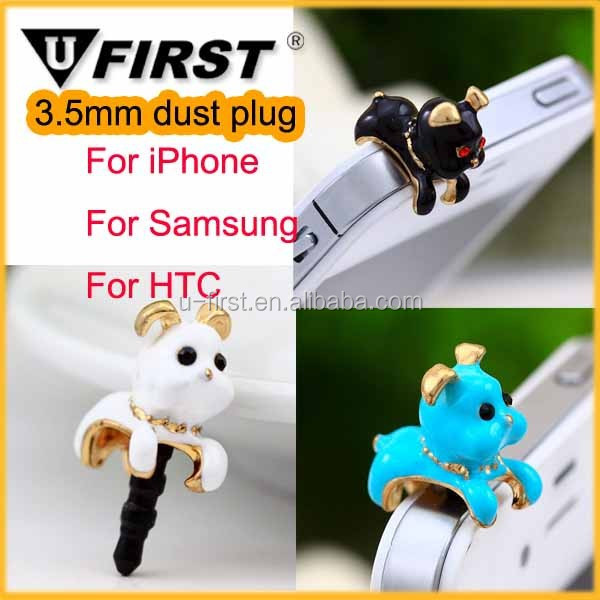 Mobile phone accessories Jewelry bling Anti dust plug for iphone, hot selling 3.5mm Earphone Dust Plug for samsung