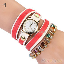 Classic Woman Multilayers Colorful Beads Crystal Bracelet watch two tone colors bracelet