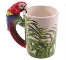 ceramic mugs 3D bird animals handle lid cup mugs cute gifts