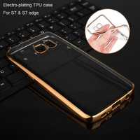 2016 custom new product soft clear transparent electroplating TPU mobile phone case for samsung galaxy s7 edge made in china