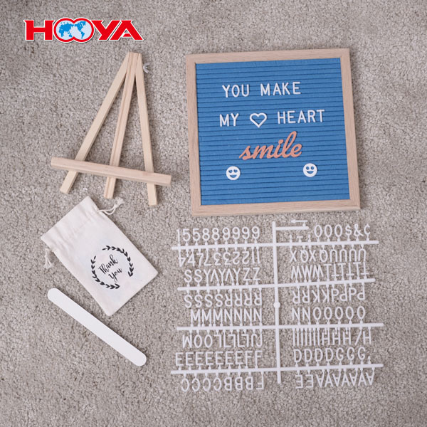 Hot sale Changeable Oak Wooden Frame Advertising Letter Board includig stand 10x10 Felt letter board pin board with letters