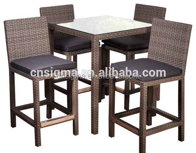 Sigma patio bar furniture outdoor wicker stools high table sets for sale