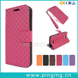 Hot Selling Cross Pattern Card Slot PU Leather Folio Case For Micromax A93