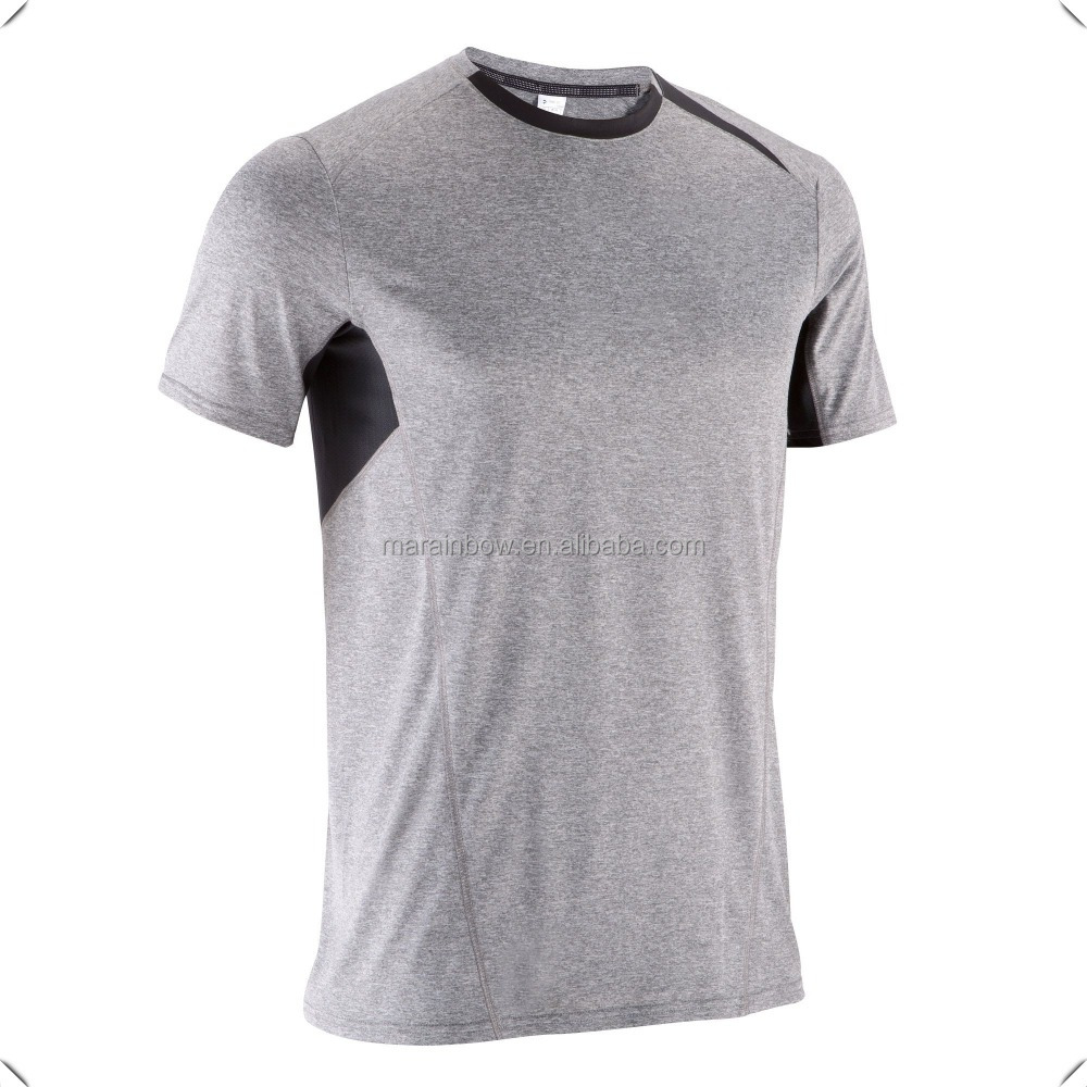 Breathe Lightweight two color combination design Light marl Grey Fitness Print T-shirt custom for men gym bodybuilding workout