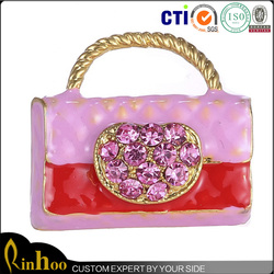 Fashion trendy women rhinestone bags brooches hot sale pink alloy decortative brooches and bulk bag wholesale