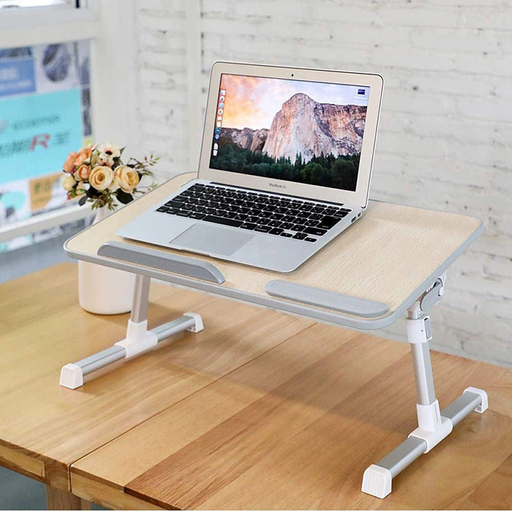 Floor Portable Laptop Desk for Bed Foldable Lap Desk, Height Adjustable Tray Laptop Table Stand for Couch and Sofa