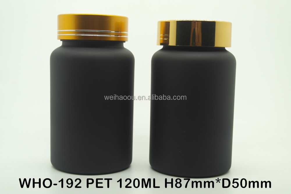 120ml PET black matt bottle with golden aluminum cap
