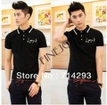 Fashion Cotton Slim Musical Note Lapel Short Sleeve Men turn-down collar Shirts 17804