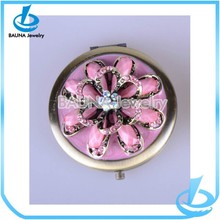 Fashion ladies' round jeweled compact mirror