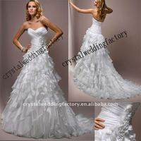New arrival 2011 sweetheart ruffled A-line custom-made chapel train bridal wedding dresses CWFaw2381