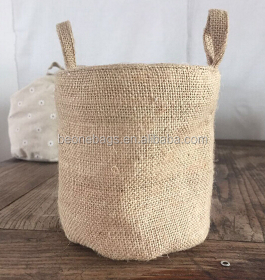 Customized Size Jute Basket Hemp Burlap Storage Basket