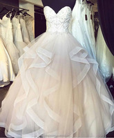 ED Bridal Lastest Design Sweetheart High End Sleeveless Lace-up Ball Gown Wedding Dresses With Beads Appliqued 2017