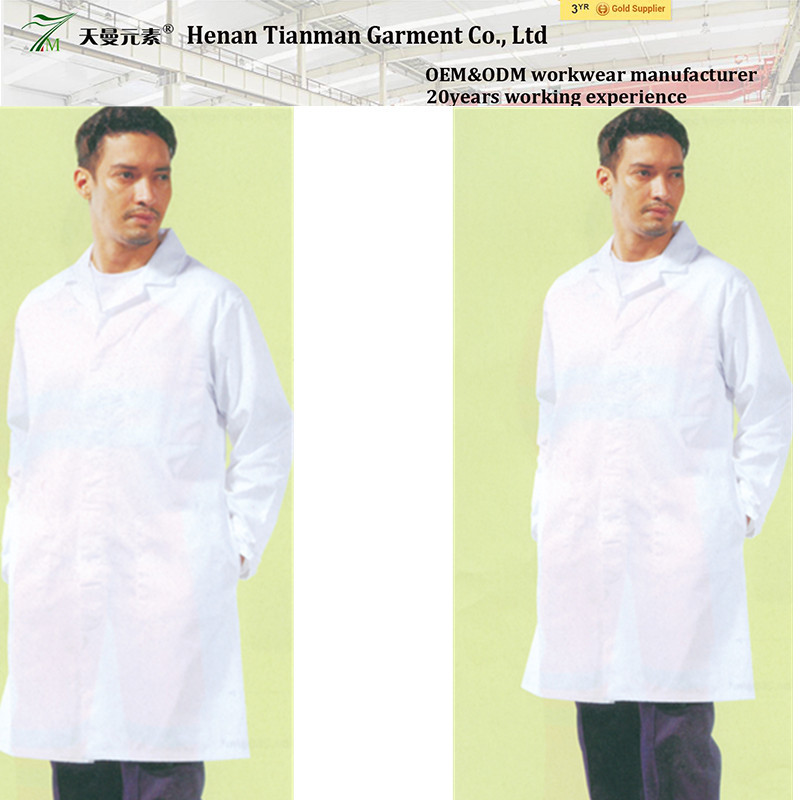 Long sleeve white coveral Hospital apparels Anti microbial workwear