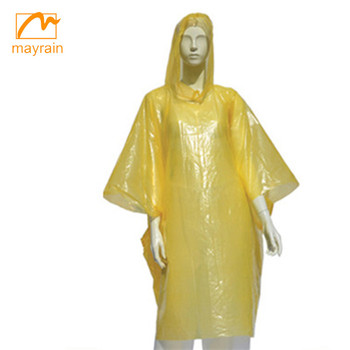 PE eco-friendly disposable outdoor rain poncho with logo printing