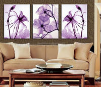 2015 New oil style 3 Panel Modern Wall Painting Home Decorative Art Picture Paint on Canvas Prints Blue flower enchanting