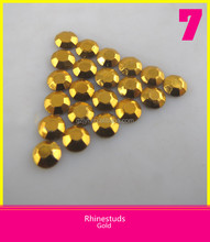 Gold Plated Hotfix Rhinestuds 5mm Round Octagon Iron on Nailhead Metal Studs