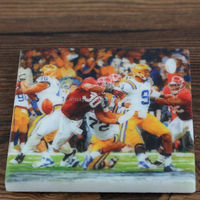 Natural Stone Marble Coaster cup mat with Playing football drawing