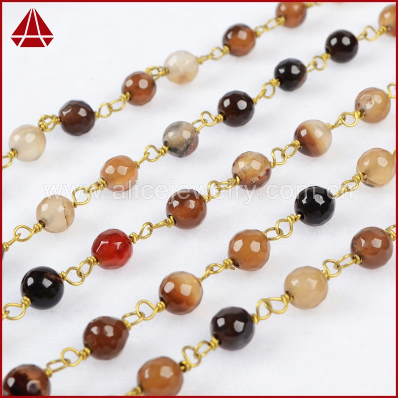 Gold plated multi brown color agate gemstone rosary style wire wrapped beaded chain roll
