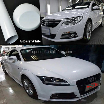 Premium white glossy cream colored bubble free car vinyl sticker