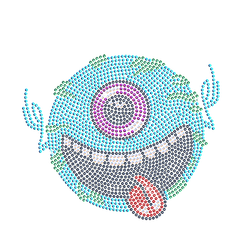 The ugly monster Tongue with a smile new style wholesale rhinestone hotfix motif