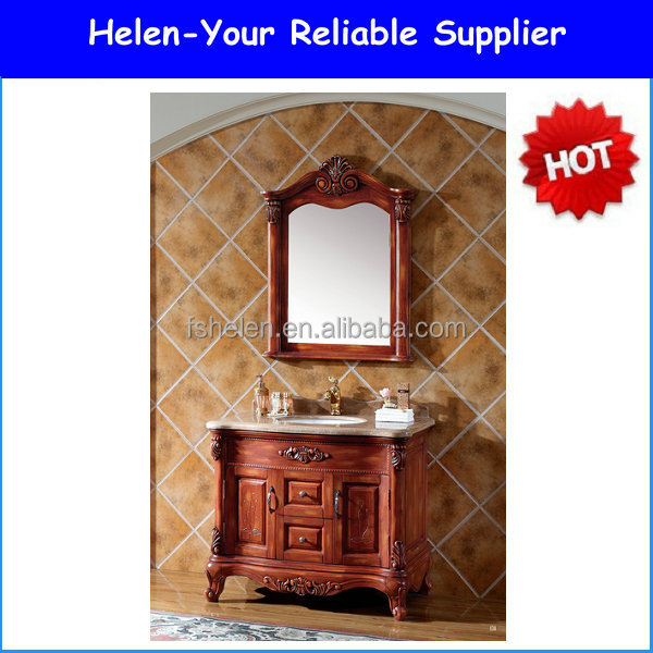 Red Brown Classic Solid Wooden Cabinet Vanities Wash Basin Foshan NO.1543