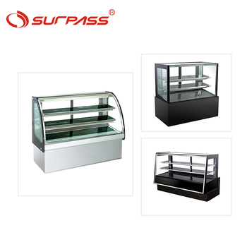 Commercial curved glass cake showcase double shelves bakery display