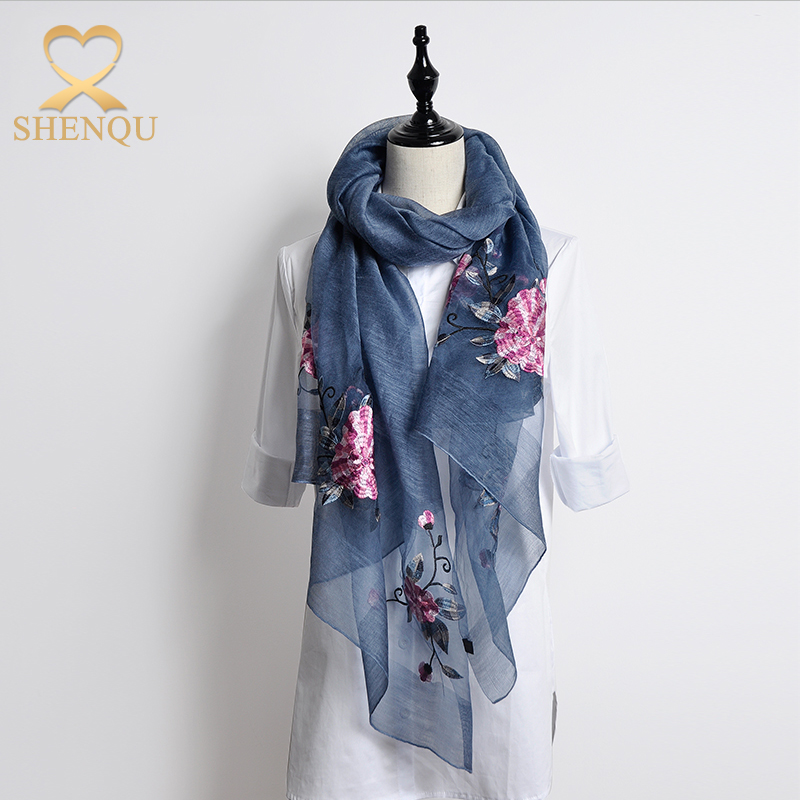Hangzhou Manufacturer Embroidered Silk Chiffon Women Scarf