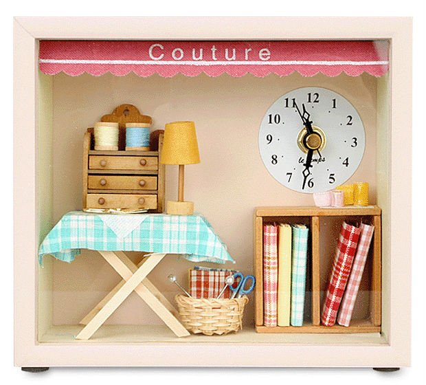 Dollhouse Couture Table & Wall Clock