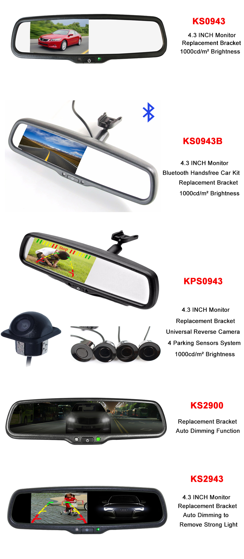 4.5 Inch Dual Lens 1080P Car DVR Mirror Rear View Mirror Dash Camera