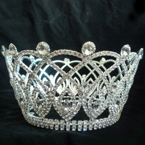 Fashion metal wedding tiaras and crown tall beauty pageant king crown decorations