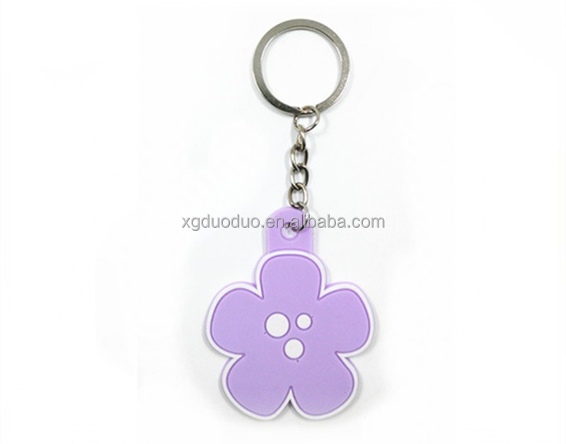 Flower shaped OEM Advertising Silicone Rubber Soft PVC Key chain/ keyring