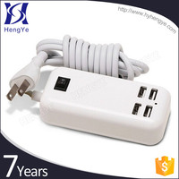 Quick charger multi plug and cable charger socket 4 port usb wall charger for samsung / iphone / ipad