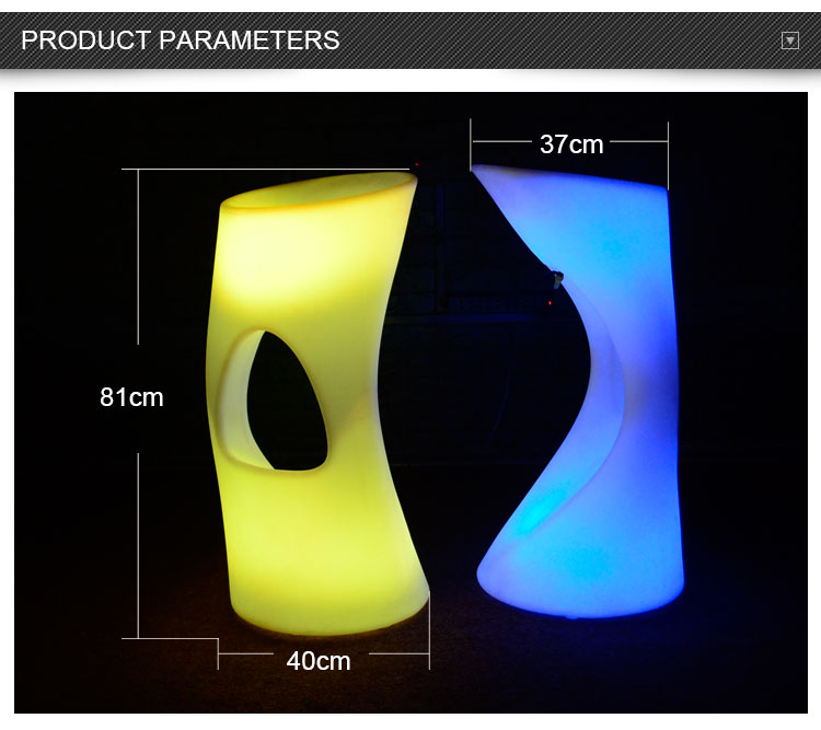 outdoor furniture illuminated plastic led stool commercial bar chair for sale