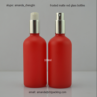 100ml spray misting glass essential oil bottle matte frosted red glass bottle