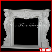 UK American Indoor Used Marble Decorative Fireplace Mantels Carving Marble Fireplace