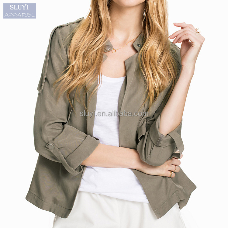 Offer lady jacket Polyester satin jackets wholesale pure green Stand collar Single Breasted fall Long sleeve satin bomber jacket