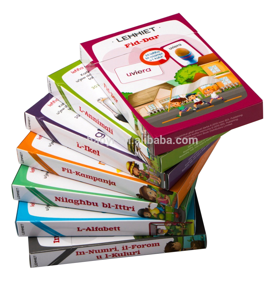 Flash Card for Kids with Box Children Flash Card Printing Services for kids learning  and playing in China,glossy lamination on all of the page,good quality and reasonable price for the card and box