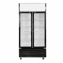 Double door upright supermarket freezer with glass door