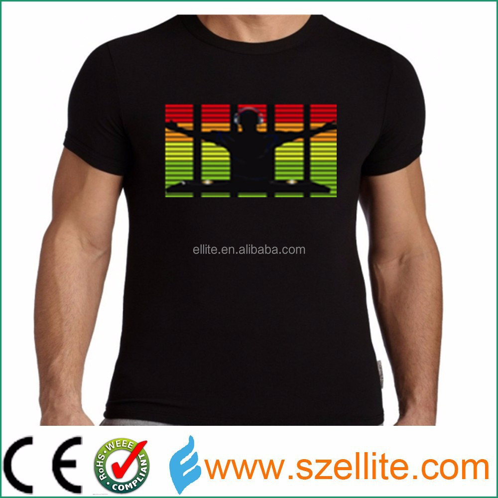 Hottest! Wholesale factory price music active party t shirt with led