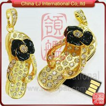 valentine gift pen drive cute golden slipper necklace pendat usb flash memory