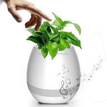 2017 Multifunctional Rechargeable LED Lighted Planter Pots Bluetooth Speaker Smart Music Plastic Flower Pot With Table Lamp