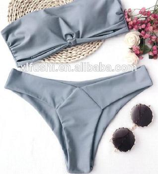 NEW!Gray With Pad Tube Top Sexy Woman Double Fabric Seamless Bikini