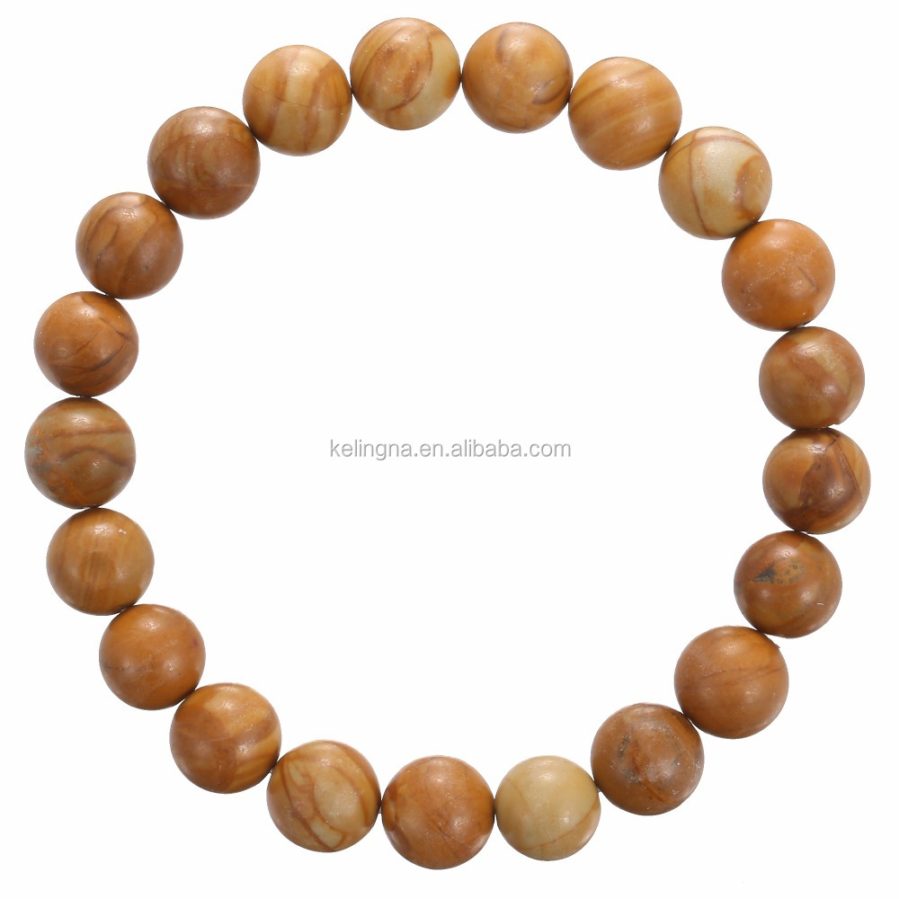 Fashion Wholesale Charm bracelet 10 mm 7.5 Inch Wooden Jasper Bracelet