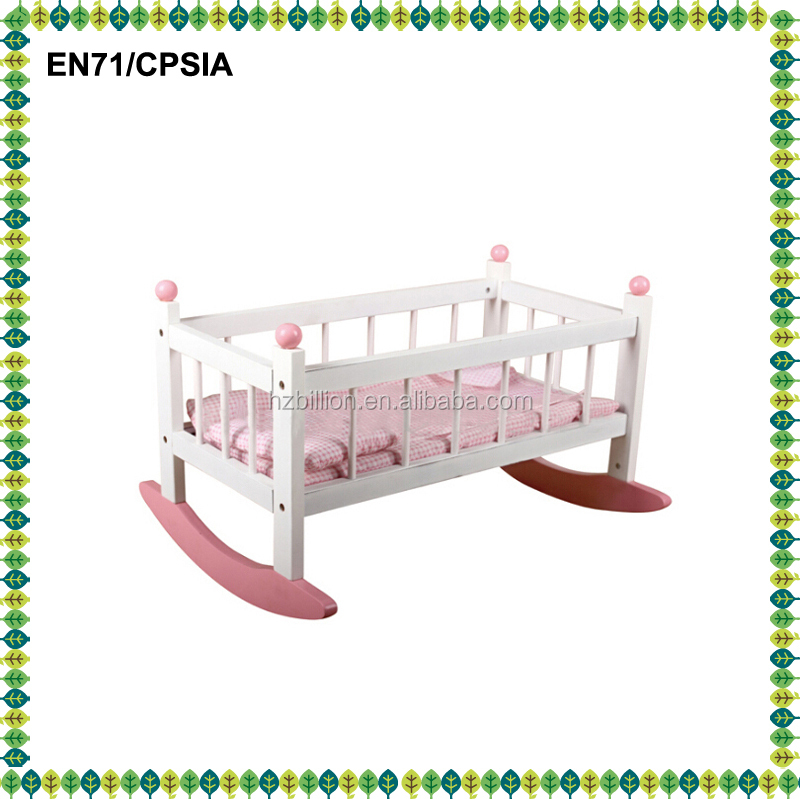 Top selling wooden baby doll furniture , doll cradle , bedding baby furniture