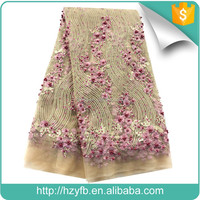 Alibaba latest beautiful embroidery designs wedding dresses top quality hand beaded 3D flower french lace fabric